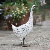 White Duck Garden Metal Statue Lawn Ornament